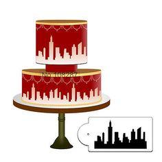 New york city skyline stencil cake #border fondant #sugarcraft airbrush #decorati, View more on the LINK: http://www.zeppy.io/product/gb/2/301972760156/