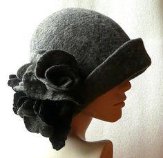 VENTE feutre chapeau feutre roses chapeau Cloche chapeaux