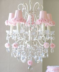 9 best chandeliers images on pinterest chandeliers chandelier 5 light chandelier with pink rose shades mozeypictures Images