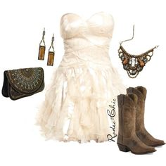 """Concrete Angel"" by rodeo-chic on Polyvore, strapless chiffon dress with cowboy boots, western, wedding, prom"