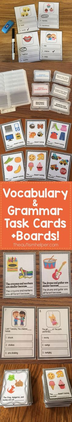Vocabulary & Grammar Task Cards + Boards to use with your students! From theautismhelper.com #theautismhelper