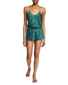 Olivia Von Halle Bella Danger Leopard-print Cami Short Pajama Set In Green Pattern Olivia Von Halle, Silk Shorts, Printed Shorts, Silk Pajamas, Green Pattern, Pajama Shorts, Pajama Set, Cami, Tankini
