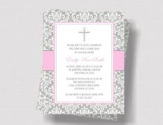 (Note: Invitations printed for you are also available. Convo me for more information!) This gray damask invitation with compliments of pink will add just the right touch for a beautiful First Communion celebration! The invitation measures 5 X 7 inches and is in a digital printable format. It will be personalized with your information, then emailed to you in a 300 dpi jpeg file. You may print yourself, or have them professionally printed in any amount you need. (Instructions for printing…