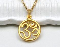 Diamond Om Pendant NecklaceOhm 24K Gold by MichelePosterJewelry, $59.00