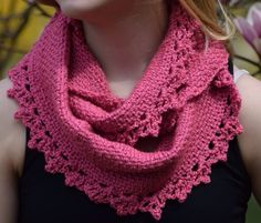 Rose Lace Crochet Cowl Pattern | A crochet cowl scarf is such a convenient and stylish accessory for when you need a quick pop of color for your outfit.