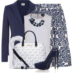 Classic Navy Blue and White by brendariley-1 on Polyvore featuring Armani Jeans, Armani Collezioni, Elizabeth and James, Blink, Michael Kors, bleu, BERRICLE and FTC