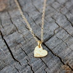 Tiny Gold Heart Necklace 24K Gold Dipped Heart by sevgicharms
