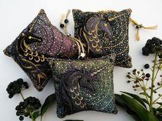 Dark starry night UNICORN Embroidered Lavender bag scented | Etsy Lavender Bags, Black Shadow, French Lavender, Metallic Thread, Looks Great, Unicorn, Dark, Night, Gold