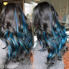 Black hair with a mermaid blue peekaboo halo. Blue hair. Black hair. Curled hair.