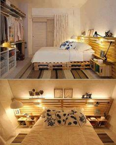 idées de plate-forme, rangement et tête de lit en palettes Europe