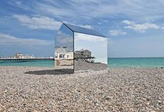 Mirrored Beach Hut by Creative Forager for ECE Architecture in Worthing UK