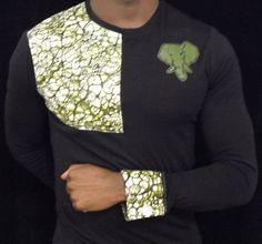 www.cewax aime les vêtements hommes ethniques, Afro tendance, Ethno tribal Men's fashion, african prints fashion - SWEAT IVORY DUST modele noir manche en WAX vert kaki : Pulls, gilets, sweats par ivory-dust African Print Shirt, African Shirts, African Print Dresses, African Inspired Fashion, African Print Fashion, Fashion Prints, African Attire, African Wear, Nigerian Men Fashion