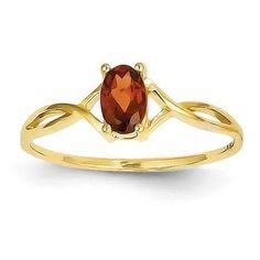 14k Yellow Gold Oval Genuine Garnet January Birthstone Ring- Sparkle & Jade-SparkleAndJade.com[product_sku]