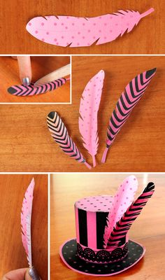 paper feathers and paper hat templates by Happythought printables https://happythought.co.uk/craft/printables/mini-top-hats/mini-paper-top-hats