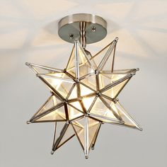Frosted glass star ceiling light pinterest frosted glass love it in the brushed nickel and without chain aloadofball Choice Image