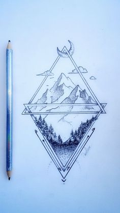 pine tattoo landscape ideas - - About ideas for pine tree tattoo landscapes - - Geometric Mountain Tattoo, Geometric Sleeve Tattoo, Tattoos Geometric, Triangle Tattoos, Tattoo Mountain, Mountain Drawing, Geometric Tattoo Nature, Triangle Art, Geometric Tattoo Design
