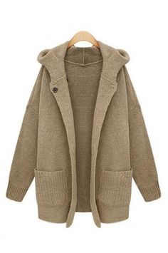 Solid color round neck sweater coat