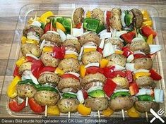 Champignon - cheese - skewers - Heidi' World Healthy Eating Tips, Easy Healthy Recipes, Easy Meals, Barbecue Recipes, Grilling Recipes, Vegan Grilling, Pork Ribs, Skewers, Queso