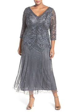 Where to Buy 1920s Dresses Plus Size Womens Pisarro Nights Embellished Double V-Neck Midi Dress Size 14W - Grey $248.00 AT vintagedancer.com