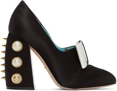Gucci - Black Satin Studded Luna Heels