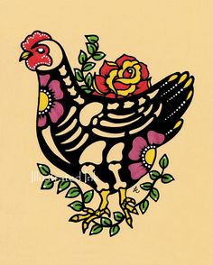 Dia de los Muertos CHICKEN Day of the Dead Art Print 8 x 10 - $15.00