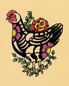 Day of the Dead CHICKEN Mexican Folk Art Dia de by illustratedink