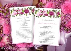 Printable Wedding ceremony programme template vintage pink roses floral motif by Oxee, DIY, Editable in Word, $5.00