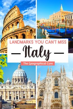 Need some destination inspiration for a future trip to Italy? If so, this Italy guide's for you! This Italy itinerary takes you to 35+ of the most famous landmarks and historic monuments in Italy. You can check out this list of Italy's must see sites and create you own bucket list. You'll visit Roman ruins and magnificent cathedrals and museums. These iconic Italian landmarks canb e combined for a regional road trip in Italy. I've grouped these unmissable Italian landmarks by region. Hiking Europe, Europe Travel Tips, Italy Travel, Travel Guides, Travel Destinations, European Destination, European Travel, Countries To Visit, Places To Visit