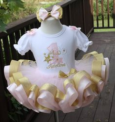 baby girls birthday tutu set in light by TutuCutebyChristyB Gold First Birthday Outfit, Baby Girl 1st Birthday, 1st Birthday Parties, Birthday Ideas, Birthday Party Centerpieces, Twinkle Twinkle Little Star, Minnie, Party Hats, Pink And Gold