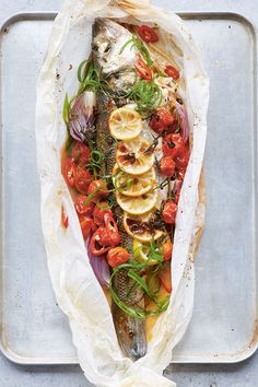 I love opening this at the table when you have a guest or two and hearing the ooohs and ahhhs as though a gift is being unwrapped. Kimchi Recipe, You Magazine, Sea Bass, Delicious Dinner Recipes, Summer Recipes, Family Meals, Ethnic Recipes, Drinks, Food