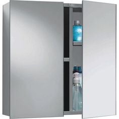 Buy HOME Double Door Mirrored Bathroom Cabinet   Stainless Steel At  Argos.co.uk
