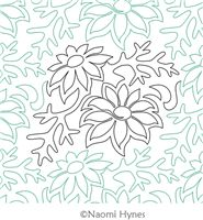 Digital Quilting Design Flannel Flower Pantograph by Naomi Hynes.