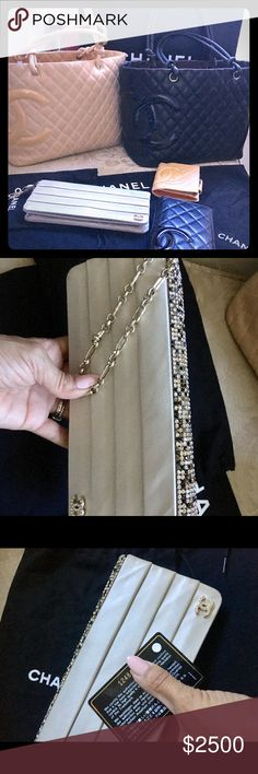 💝 Chanel Clutch 👛 and wallets 🎀 I'll make a individual list later. For now I just want you to know this Gems are all Authentic with their Authenticity Cards ♥️ mostly have their own Duster bag no boxes sorry. Please feel free to ask any questions 😉 oh the clutch need to be clean I will take $300 off when purchase 🌷😍 or I can send it to clean for you! . CHANEL Bags Clutches & Wristlets