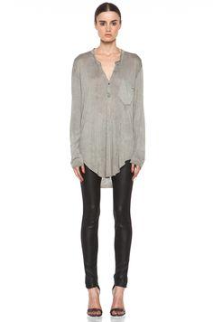 Raquel Allegra | Long Sleeve Henely in Dark Wash