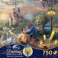 """Amazon.com: Thomas Kinkade The Disney Dreams Collection: Beauty and The Beast Falling in Love Puzzle, 750 Pieces, 24"""" X 18"""": Toys & Games Thomas Kinkade Puzzles, Usa Puzzle, Puzzle Shop, Puzzle Art, Walt Disney Movies, Thing 1, Disney Beauty And The Beast, Beauty Beast, Christmas Toys"""