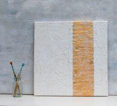 Blattgold abstrakte Malerei Gold 40x40x15 cm von AtelierMaltopf