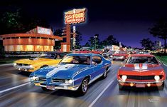 Bruce Kaiser Muscle Car Art, Woodward Ave, Muscle Cars, Street Racing ...