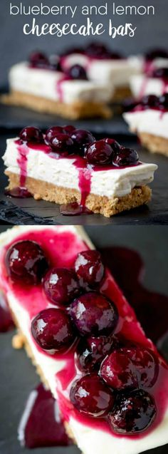 These Blueberry and Lemon Cream Cheese Bars from Simply Stacie are a cheesecake lovers paradise! They are a no-bake dessert, really quick and easy to make, and they are delicious too!