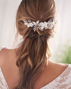 headband bridal hair pins orange Brown silver Pearl wedding sold separately-the choice of colors