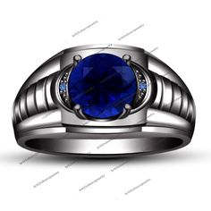 Men's Round-Cut Blue Sapphire and Accent Ring in 14K Black Gold FN Size 8 #br925silverczjewelry #Engagement #EngagementAnniversaryParty