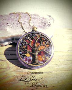 Colgante orgonita con árbol vida ámbar y granate de El Baúl del Capitán, Orgonitas,  artesanía energética y minerales por DaWanda.com