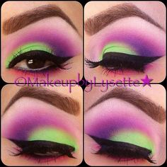 I love the perfectly blended colours, the fierce strong brow, and the solid liner (: bright bright bright