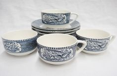 Currier & Ives Royal China Lot of 4 Cups and 7 Saucers Steamship Blue Vintage #RoyalChina