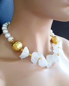 20% Off Sale Chunky White Hammered Quartz with African Gold