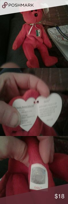 Osito *Mexico* Beanie Baby 1993 Retired, *Mexico* Osito Red Beanie Baby Bear , Born  2/03/99. EXCELLENT CONDITION TY Other