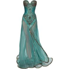 Edited by Avonamso - Ella Zahlan ❤ liked on Polyvore featuring dresses, gowns, long dresses, vestidos, ella dress, green evening gown, green ball gown, long green evening dress and green color dress
