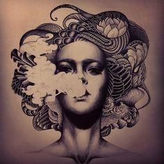 "Example of ""sexy woman"" smoking hookah, smoking, idea for mural."