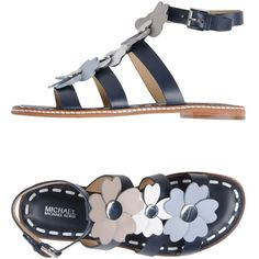 088c9a16c1b6d0 Metal applications Flower application Multicolour pattern Buckling ankle  strap closure Round toeline Flat Leather lining Rubber sole Contains  non-textile ...