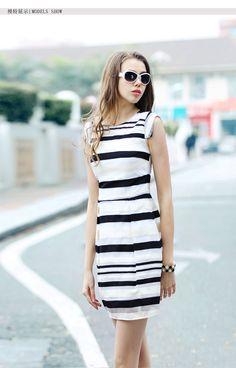 Summer New Women's Fashion Commuter Slim Stripe Sleeveless Organza Dress
