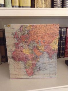 Frontal view Decoupage, Vintage World Maps, Diy, Bricolage, Do It Yourself, Homemade, Diys, Crafting